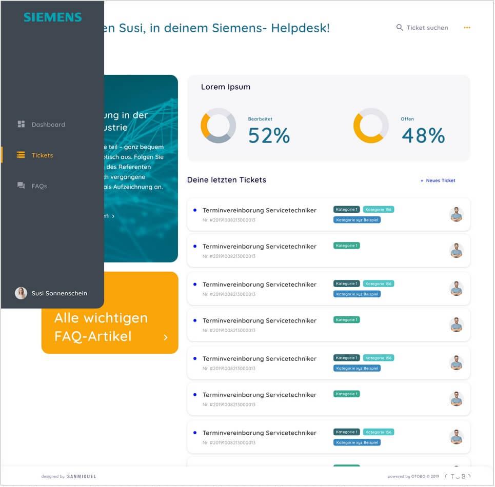 Mockup OTOBO Dashboard mit Kunden CI Siemens